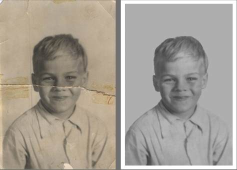 Photo restoration grade school photo before and after