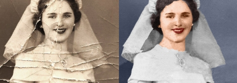 wedding photo before and after color
